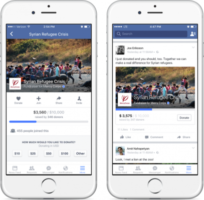 You can now donate things on Facebook