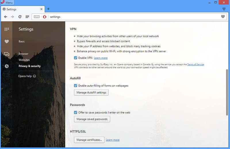 Free VPN is Now built into Opera Browser Download Here