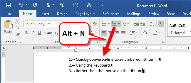Create a Numbered List in Word Using the Keyboard